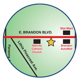 Map illustrating general area where the Brandon branch is located